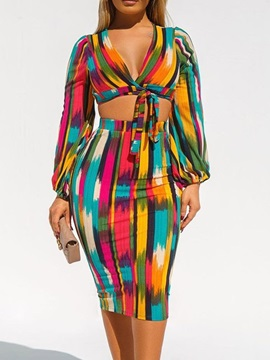 Color Block Casual V-Neck Bodycon Women's Two Piece Sets