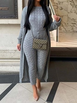 Plain Casual Wrapped Women's Two Piece Sets