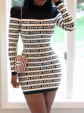 Long Sleeve Above Knee Print Bodycon Pullover Women's Dress