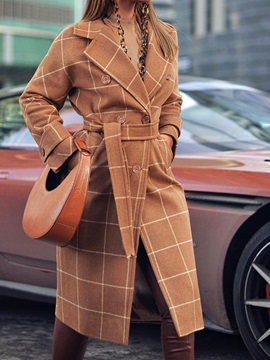 Regular Straight Double-Breasted Notched Lapel Long Women's Overcoat