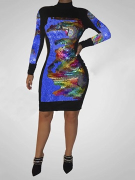 Sequins Long Sleeve Stand Collar Color Block Regular Women's Dress