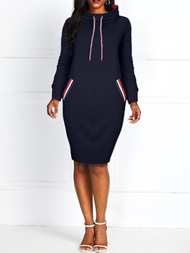Long Sleeve Knee-Length Turtleneck Bodycon Casual Women's Dress