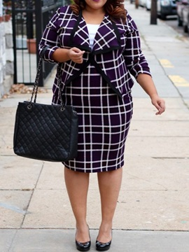 Plus Size Plaid Office Lady Bodycon Women's Two Piece Sets