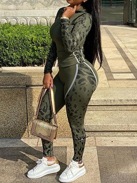 Print Hooded and Pencil Pants Women's Two Piece Sets
