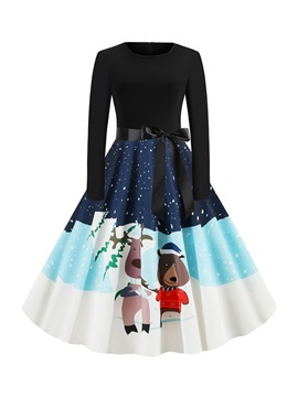 Mid-Calf Long Sleeve Round Neck Party/Cocktail Pullover Women's Dress