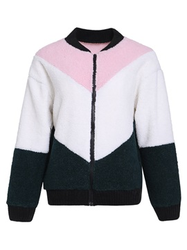 Zipper Long Sleeve Loose Standard Regular Women's Jacket