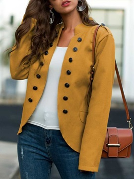Slim Long Sleeve Double-Breasted Stand Collar Lantern Sleeve Women's Jacket