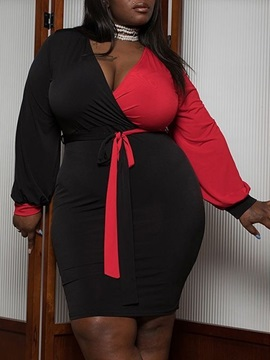Plus Size Long Sleeve Above Knee V-Neck High Waist Pullover Women's Dress