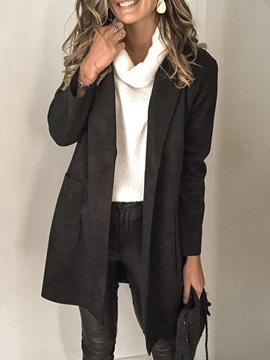Slim Mid-Length Notched Lapel Women's Overcoat