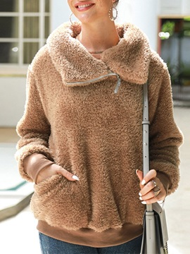 Regular Patchwork Plain Thick Mid-Length Women's Hoodie