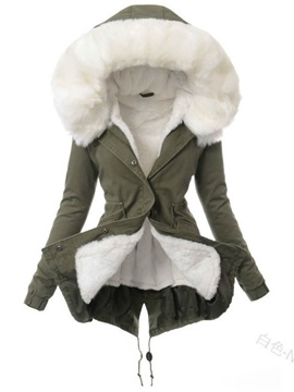 Single-Breasted Loose Patchwork Mid-Length Women's Cotton Padded Jacket