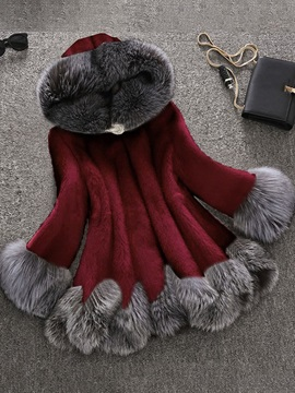 Hooded Mid-Length Thick Loose Women's Faux Fur Overcoat