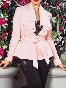 Lace-Up Standard Regular Long Sleeve Women's Trench Coat