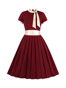Patchwork Short Sleeve Bow Collar Party/Cocktail Color Block Women's Dress