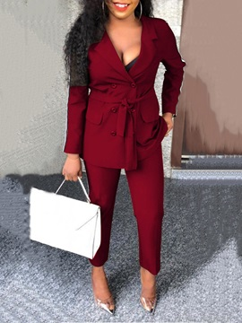 Lace-Up Office Lady Notched Lapel Double-Breasted Women's Two Piece Sets