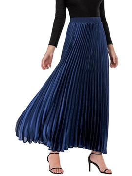 Pleated Plain Ankle-Length Elegant High Waist Women's Skirt