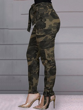 Camouflage Slim Pencil Full Length Women's Casual Pants