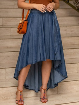 Asymmetric Plain Ankle-Length Casual High Waist Women's Skirt