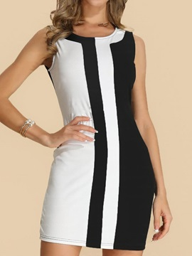 Sleeveless Round Neck Above Knee Color Block Casual Women's Dress