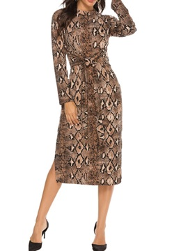 Long Sleeve Mid-Calf Stand Collar Serpentine Bodycon Women's Dress