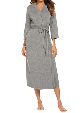 Lace-Up Lace-Up Single Loose Polyester Women's Night-Robes