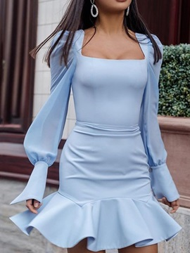Long Sleeve Square Neck Pleated Mermaid Summer Women's Dress