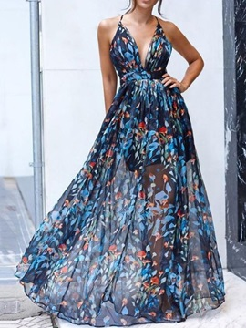 Print Floor-Length Sleeveless Mid Waist Expansion Women's Dress