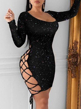 Long Sleeve Above Knee Hollow Standard-Waist Sexy Women's Dress