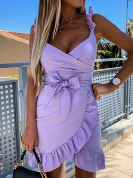 Above Knee V-Neck Sleeveless Pullover Spaghetti Strap Women's Dress