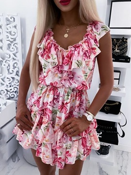 Ruffled Collar Above Knee Cap Sleeve Pullover Floral Women's Dress