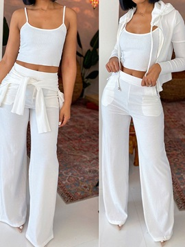 Casual Pants Pocket Straight Women's Two Piece Sets