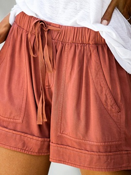 Pocket Plain Loose Mid Waist Women's Shorts