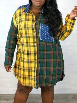 Lapel Tassel Plaid Long Sleeve Mid-Length Women's Blouse