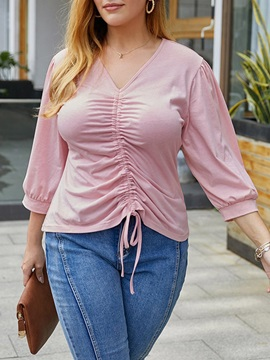 V-Neck Three-Quarter Sleeve Plain Casual Loose Women's T-Shirt