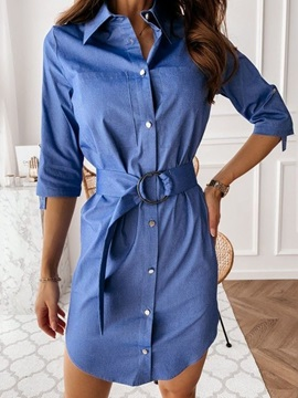 Three-Quarter Sleeve Lapel Above Knee Single-Breasted Date Night Going Out Women's Dress