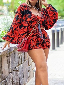 Floral Shirt Print Straight Women's Two Piece Sets