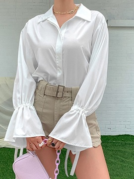 Flare Sleeve Plain Lapel Long Sleeve Standard Women's Blouse
