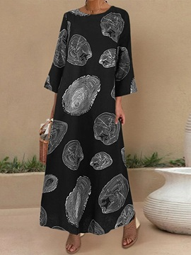 Ankle-Length Nine Points Sleeve Print Casual A-Line Women's Dress