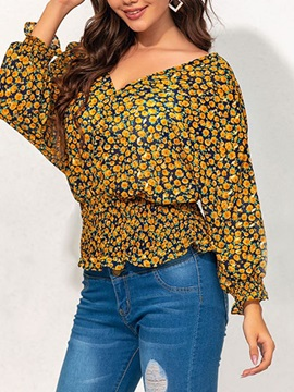 V-Neck Pleated Floral Standard Long Sleeve Women's Blouse