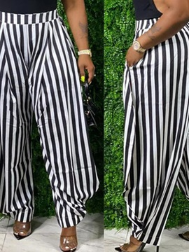 Pocket Loose Stripe Full Length Women's Casual Pants