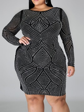 Round Neck Long Sleeve Above Knee Bodycon Fall Women's Dress