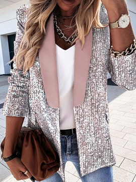 Long Sleeve Plaid Double-Breasted Regular Fall Women's Casual Blazer