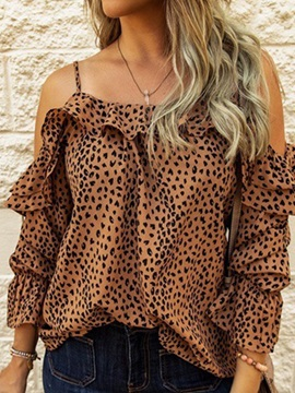 Leopard Print Off Shoulder Three-Quarter Sleeve Standard Women's Blouse