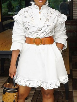 Lace-Up Stand Collar Above Knee Mid Waist Spring Women's Dress