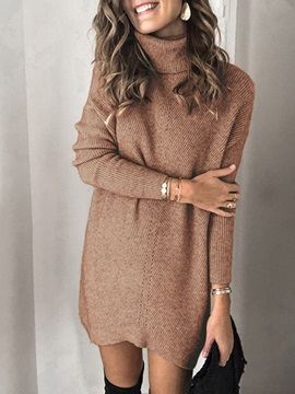 Long Sleeve Above Knee Turtleneck Winter Date Night Going Out Women's Dress