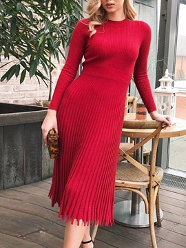 Long Sleeve Pleated Round Neck Date Night Going Out Regular Women's Dress