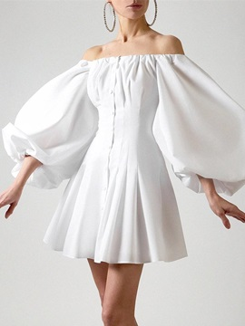 Off Shoulder Pleated Above Knee Sweet High Waist Women's Dress
