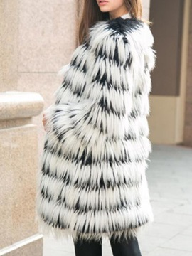 Mid-Length Regular Thick Winter Women's Faux Fur Overcoat