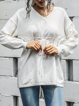 Lace-Up Thin Long Sleeve Fall Women's Sweater