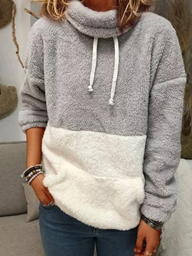 Regular Patchwork Color Block Winter Standard Women's Hoodie